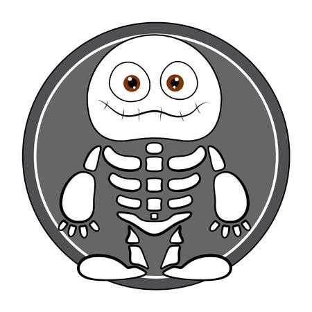 horrify: funny skeleton ghost - halloween vector illustration Illustration