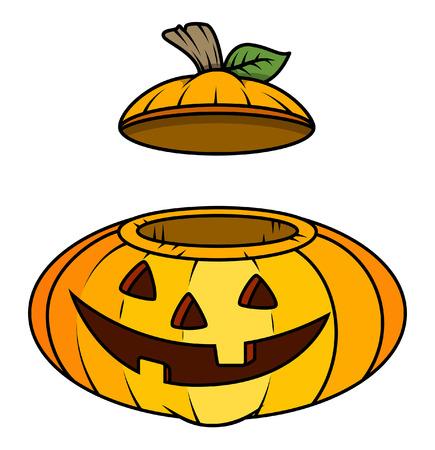 frightful: jack-o-lantern container - halloween vector illustration