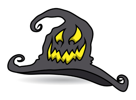 cursed: cursed witch hat - halloween vector illustration Illustration