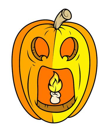 horrible jack-o-lantern - halloween vector illustration Vector