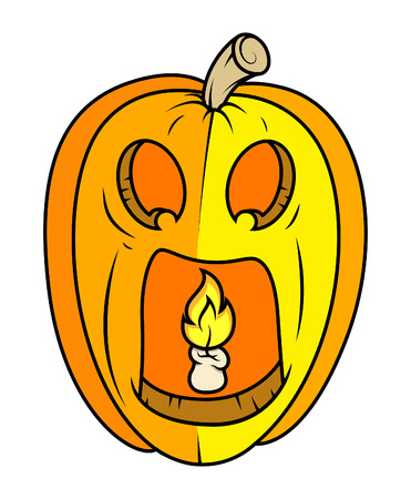 horrible: horrible jack-o-lantern - halloween vector illustration
