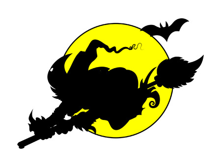 witch flying on full moon - silhouettes - halloween vector illustration Vector