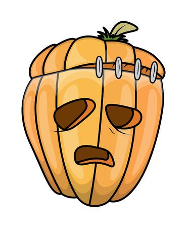 jack-o-lantern cartoon - halloween vector illustration