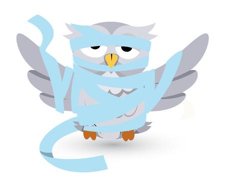 horrify: vector cartoon owl stucked in bandages