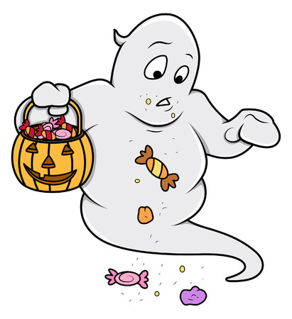 cute ghost: funny cute ghost carrying candies - halloween vector illustration Illustration
