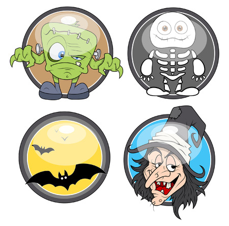 terrify: glossy badges for halloween Illustration