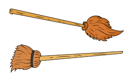 wicked set: brooms vector Illustration