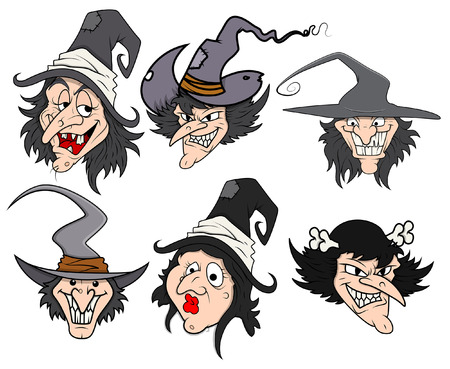 horrify: cartoon witch vector illustrations