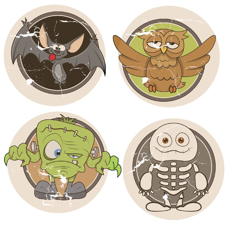 old grunge stickers for halloween Vector