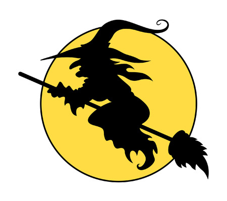witch hat: silhouettes of flying witch on broom - halloween vector illustration