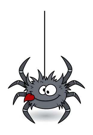 hungry funny spider - halloween vector illustration  イラスト・ベクター素材