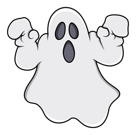 scare: ghost trying to scare - halloween vector illustration Illustration