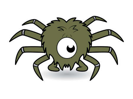 one eye: one eye funny spider cartoon vector