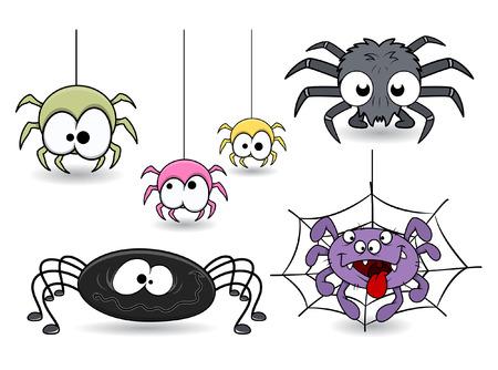 set of cute funny cartoon spiders vectors Vector