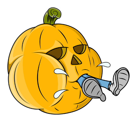 man eater: jack-o-lantern grabbed a man - funny vector - halloween vector illustration