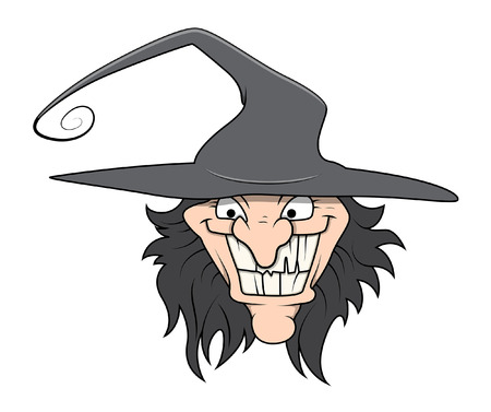 wicked: funny wicked witch - halloween vector illustration