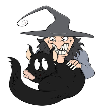naughty woman: black cat in funny wicked witch arms - halloween vector illustration