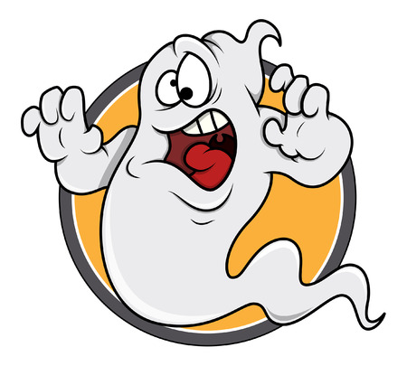 horrify: scared ghost funny vector