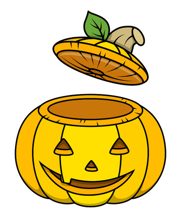 horrify: jack-o-lantern opened container - halloween vector illustration