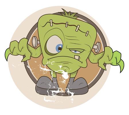 clipart frankenstein: tiny green monster vector illustration