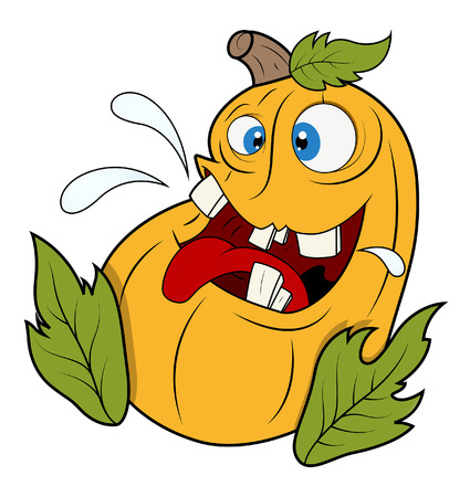 funny jack-o-lantern pumpkin with leaves - halloween vector illustration Vector
