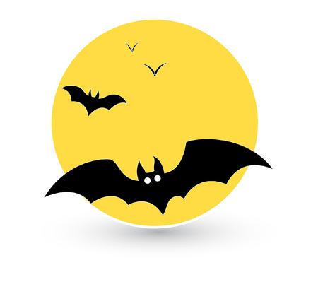 horrify: bats flying in full moon background vector