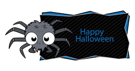 happy halloween spider banner Vector
