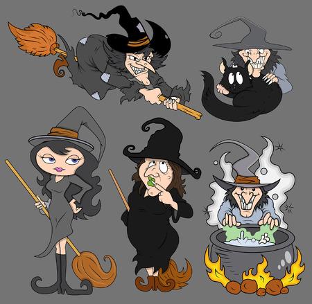 halloween spooky evil witch vector set Vector