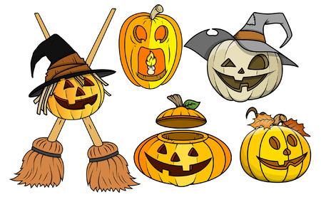 besom: jack-o-lantern and pumpkin vectors set Illustration