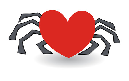 scare: heart shaped spider - love cheat concept Illustration