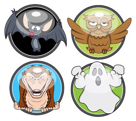 halloween spooky badges vectors Vector