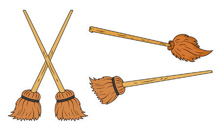 wicked set: brooms vector cartoon