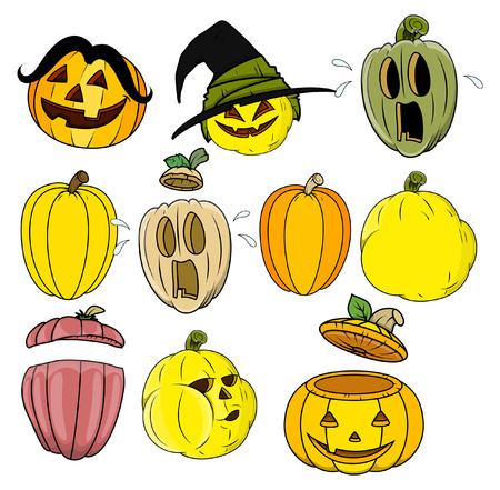 calabaza caricatura: calabaza de dibujos animados y vectores de jack-o-lantern Vectores