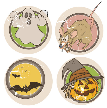 old grunge halloween stickers Vector
