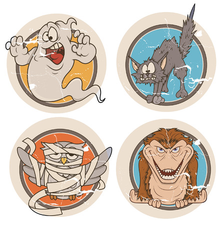 halloween grunge stickers and badges