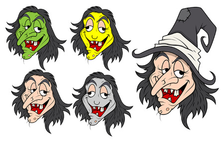 set of funny evil witch vectors Vector