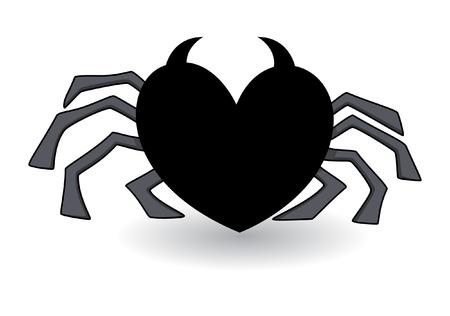 evil heart shaped spider - halloween vector illustration Illustration