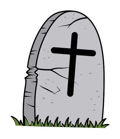 grave: cartoon grave - halloween vector illustration