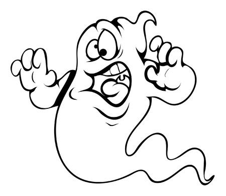 frightened ghost cartoon - halloween vector illustration