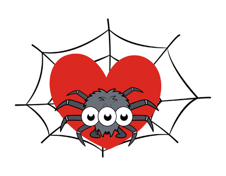 s trap: spider on web showing heart - halloween vector illustration