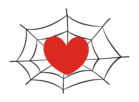 stick bug: heart stucked in spider web