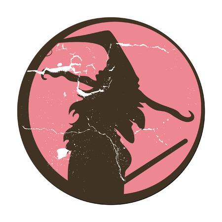 retro witch illustration vector