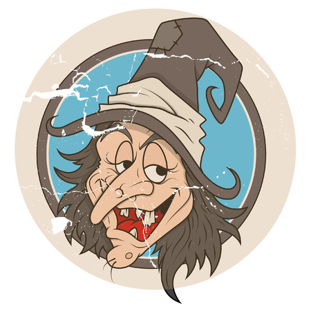 naughty woman: vintage cartoon witch vector Illustration