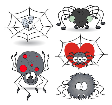 terrify: set of cartoon funny spiders vector illustrations