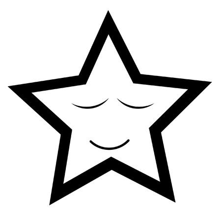 Sleeping Star Smiley Vector