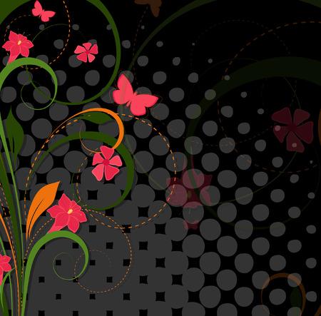 halftone background: Flourish Halftone Background Illustration