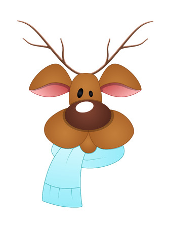 scarf: Reindeer Face with Scarf Illustration