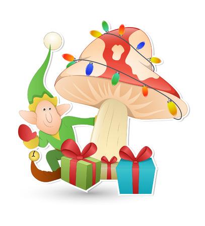 cartoon elfe: Cartoon Elf Charakter mit dekorative Lichter Baum und Geschenk-Boxen