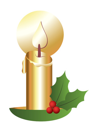 holy leaves: Golden Christmas Candle with Holy Leaves