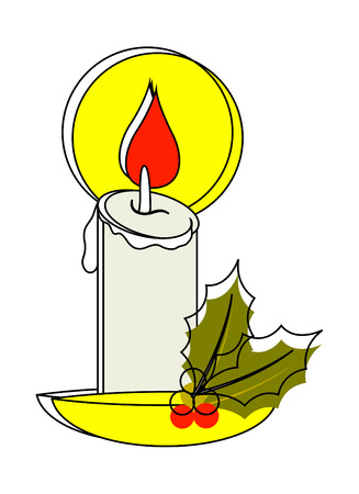 holy leaves: Candle with Holy Leaves Vector